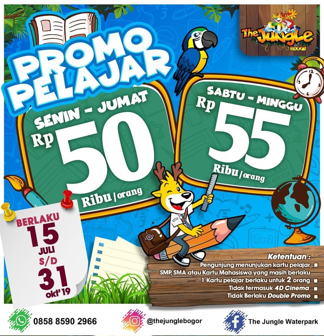 Diskon THE JUNGLE Promo Harga Spesial Tiket Masuk khusus pelajar SMP, SMA, dan Mahasiswa