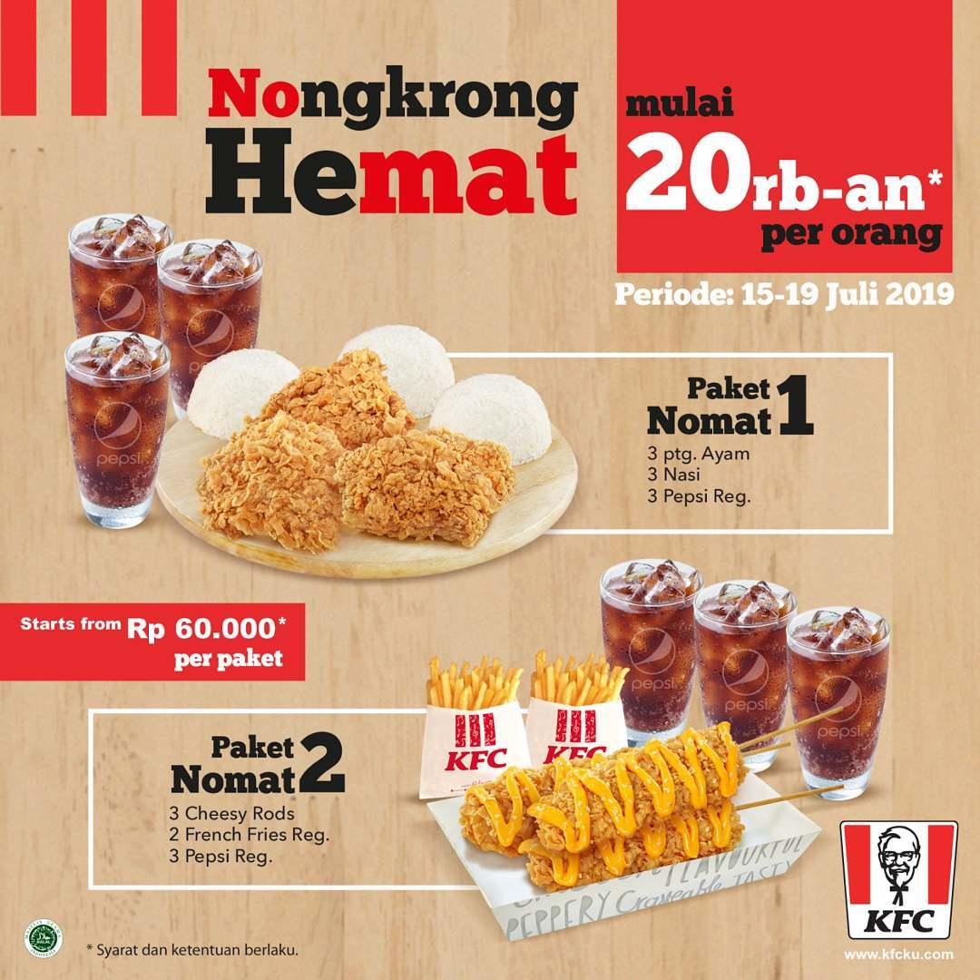KFC Promo Paket NONGKRONG HEMAT! mulai Rp.20ribuan per orang