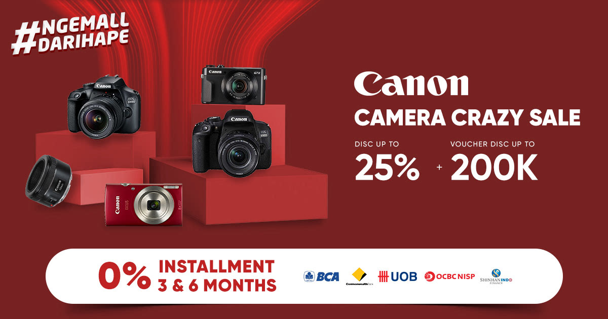 Diskon iLOTTE.COM Promo CANON Camera Crazy Sale Disc up to 25% + Voucher Disc up to 200K!