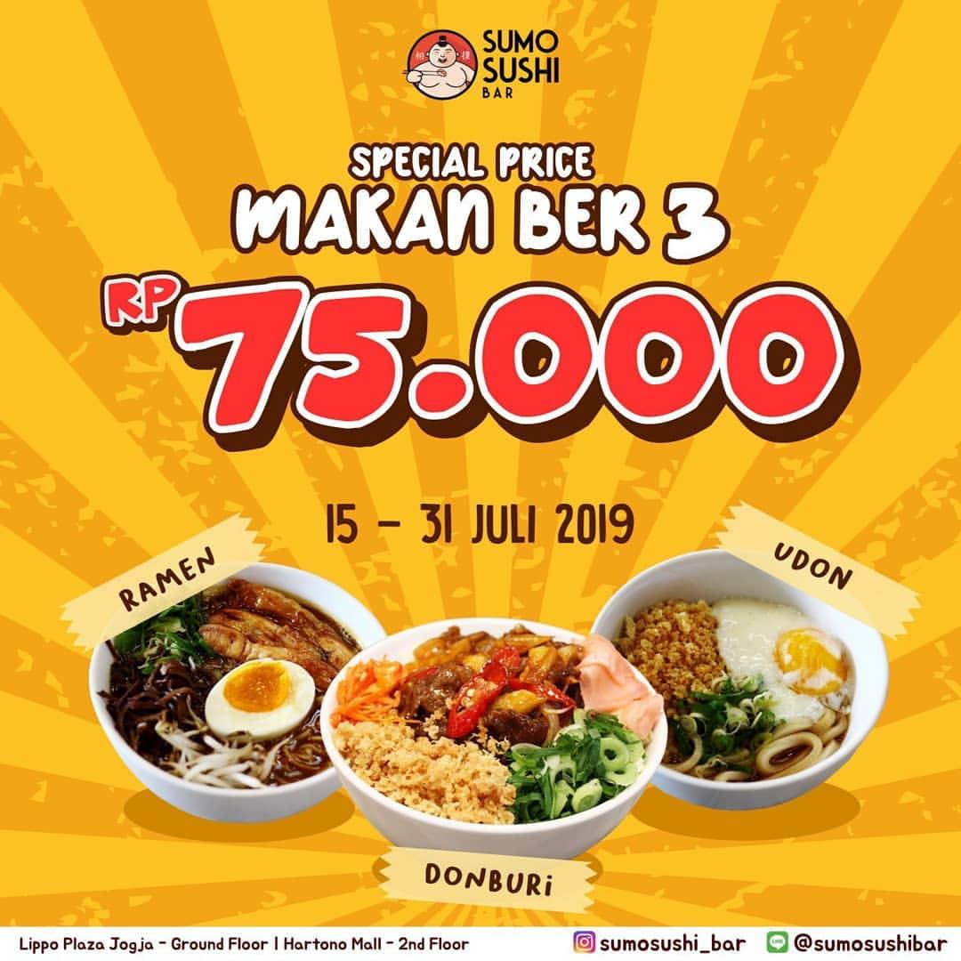 Diskon SUMO SUSHI BAR Promo Special Price Makan Ber 3 Rp.75.000