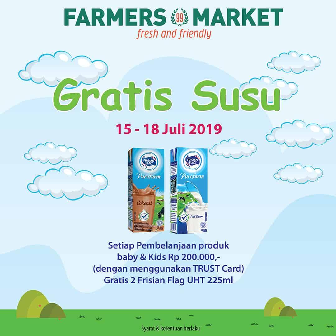 Diskon Farmers Market Promo GRATIS susu Frisian Flag UHT 225ml Khusus Pemegang Trust Card