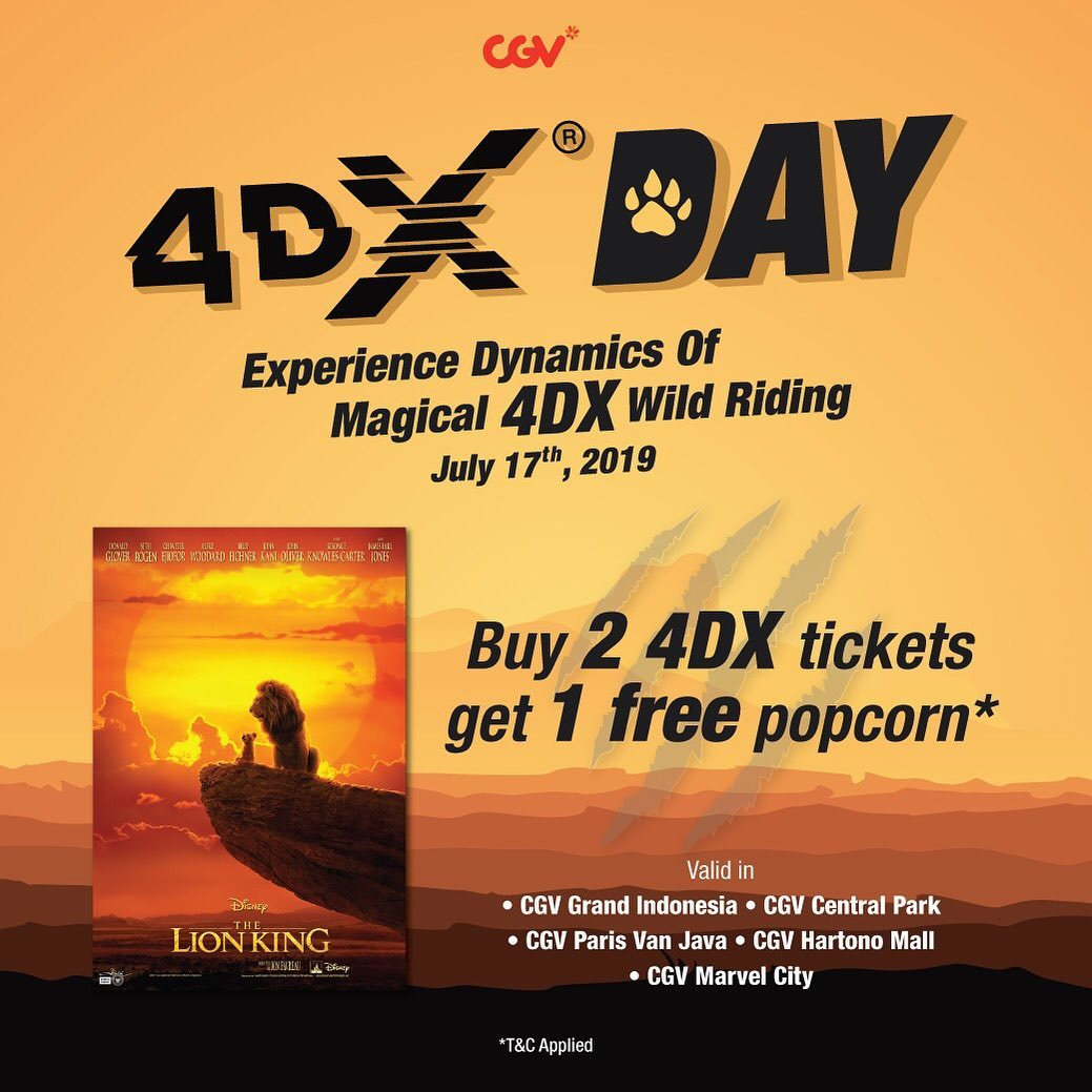 Diskon CGV Promo WEDNESDAY is 4DX DAY Beli 2 Tiket 4DX The Lion King Dapat 1 Popcorn Gratis