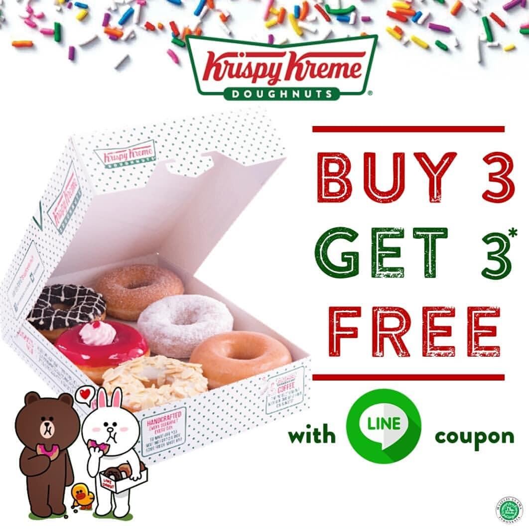 Krispy Kreme Promo Buy 3 Get 3 Free Dengan Menggunakan Kupon LINE