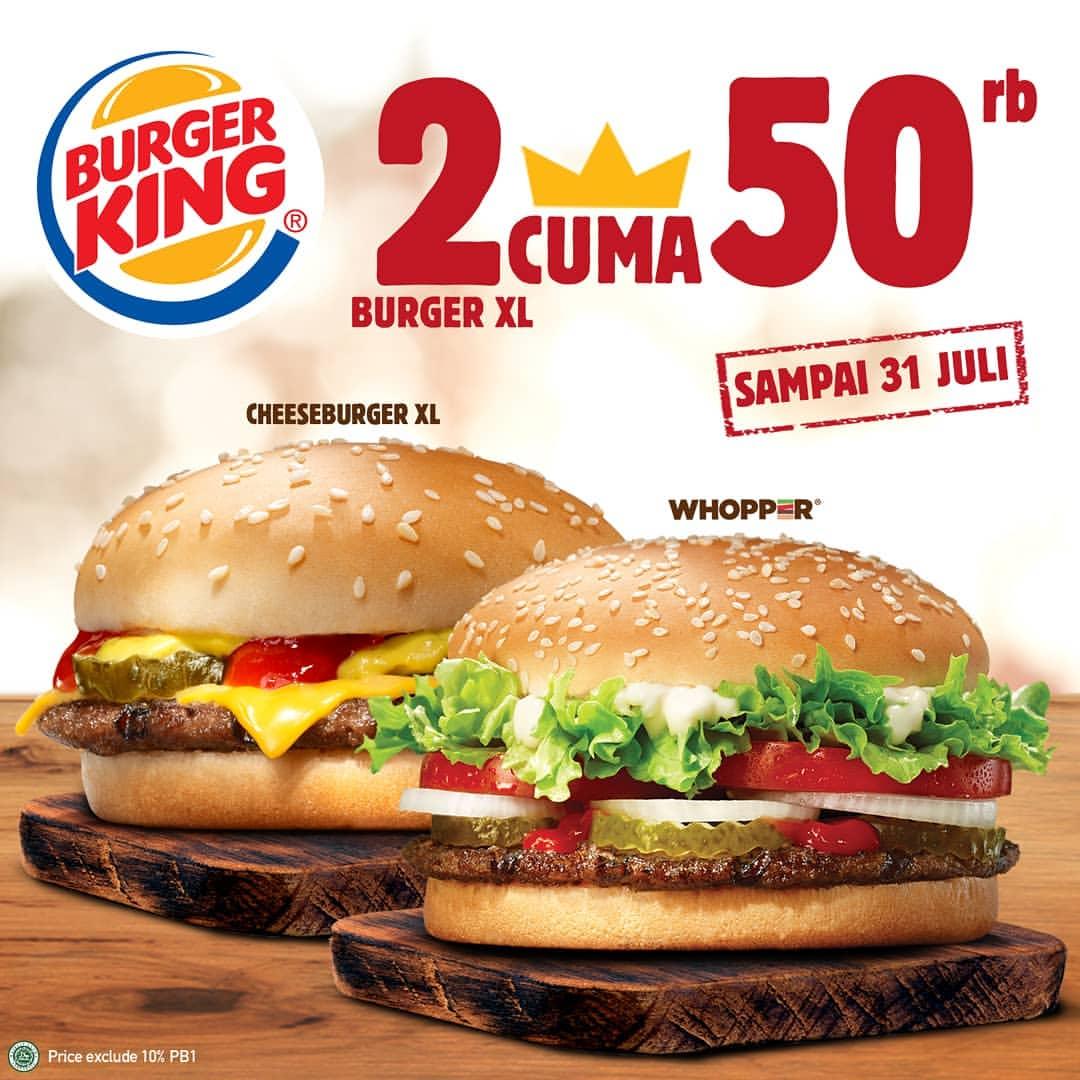 Burger King beli 2 Burger cuma Rp.50.000
