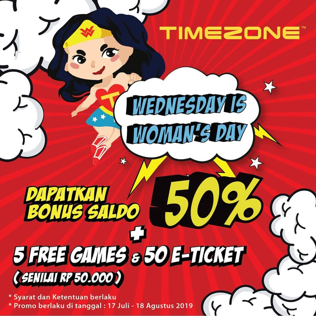 Diskon Timezone Bonus Saldo 50% + 5 Free Games & 50 E-Ticket