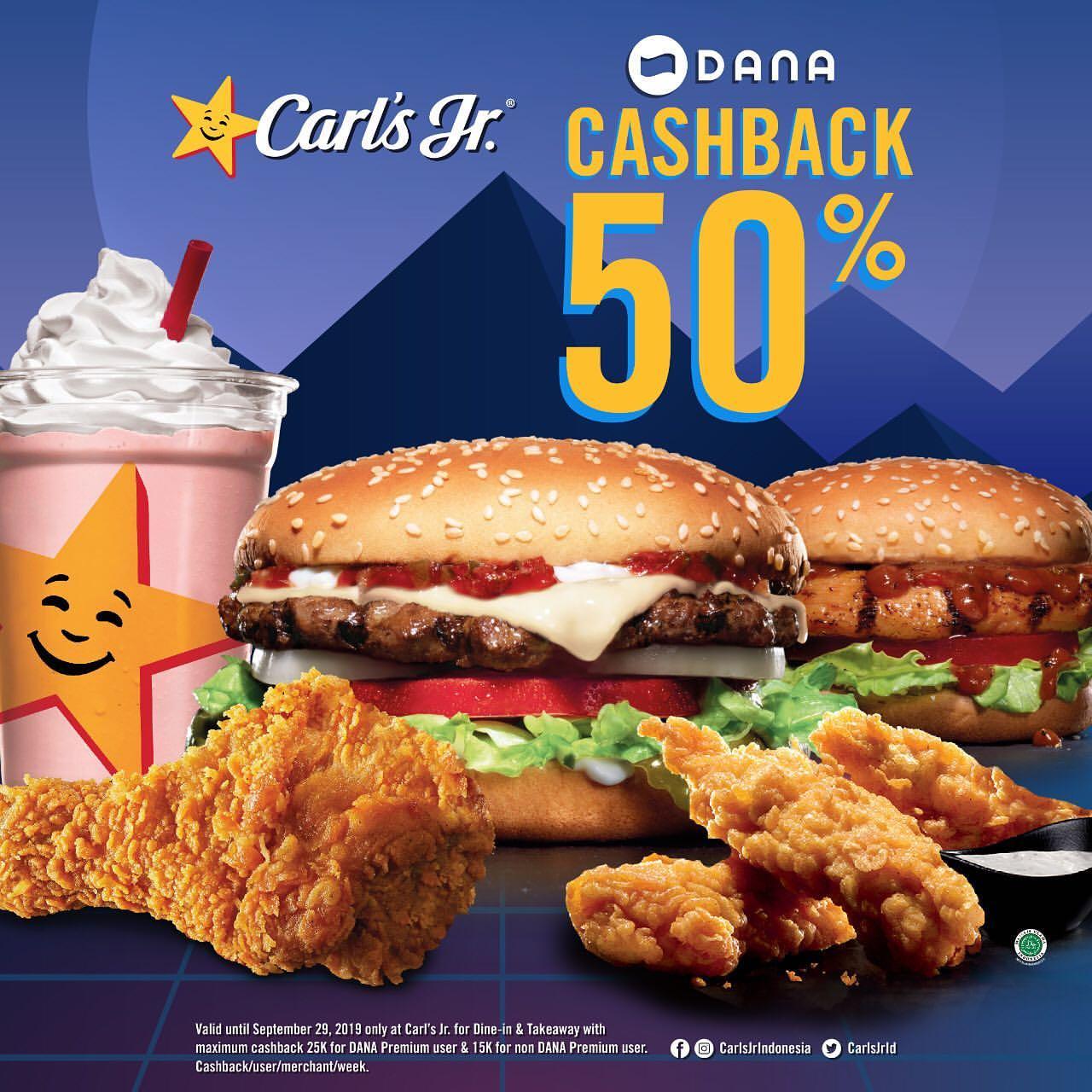 Diskon CARLS JR Promo CASHBACK 50% dengan DANA