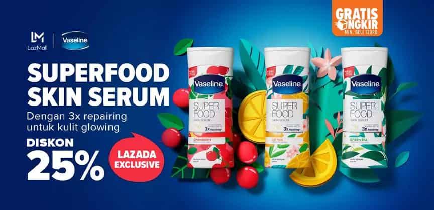 Diskon Lazada Promo Vaseline Superfood Skin Serum, Diskon Hingga 25%