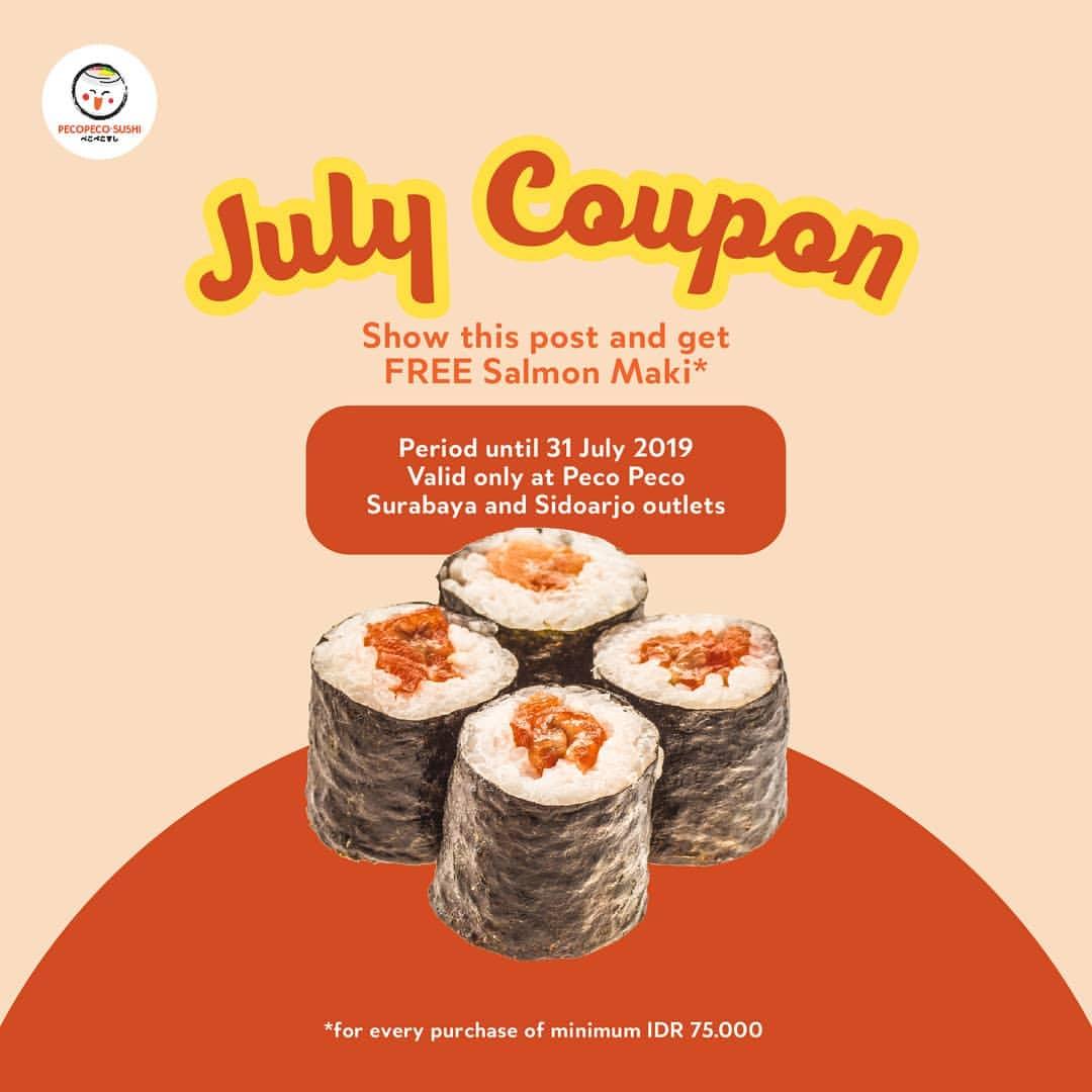 Pecopeco Sushi July Promo Free Salmon Maki