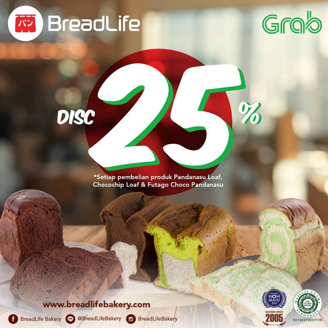 Diskon BREADLIFE Promo Discount 25% on Grab Food