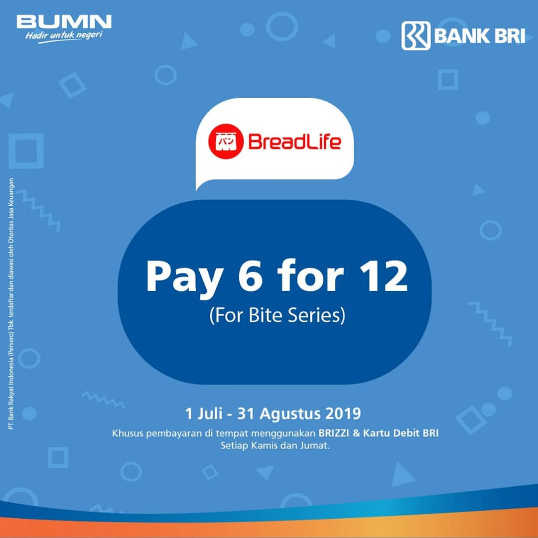 Diskon BREADLIFE Promo Pay 6 for 12