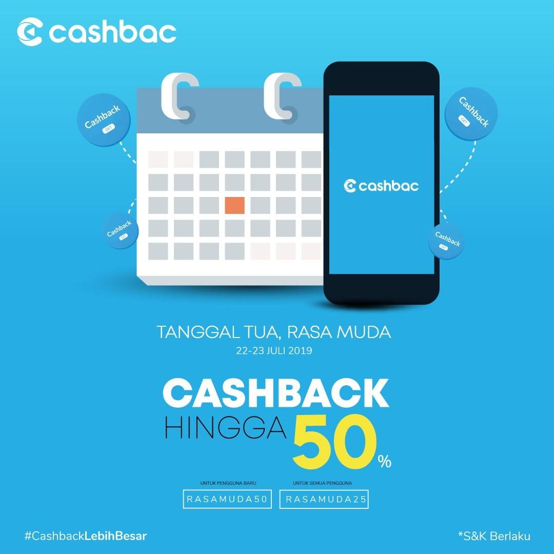 CASHBAC APP Extra Cashback hingga 50%!!
