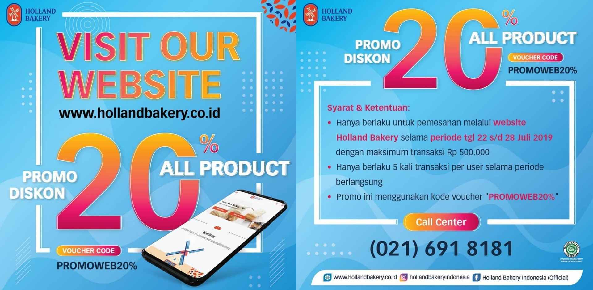 HOLLAND BAKERY Promo DISKON 20% via website