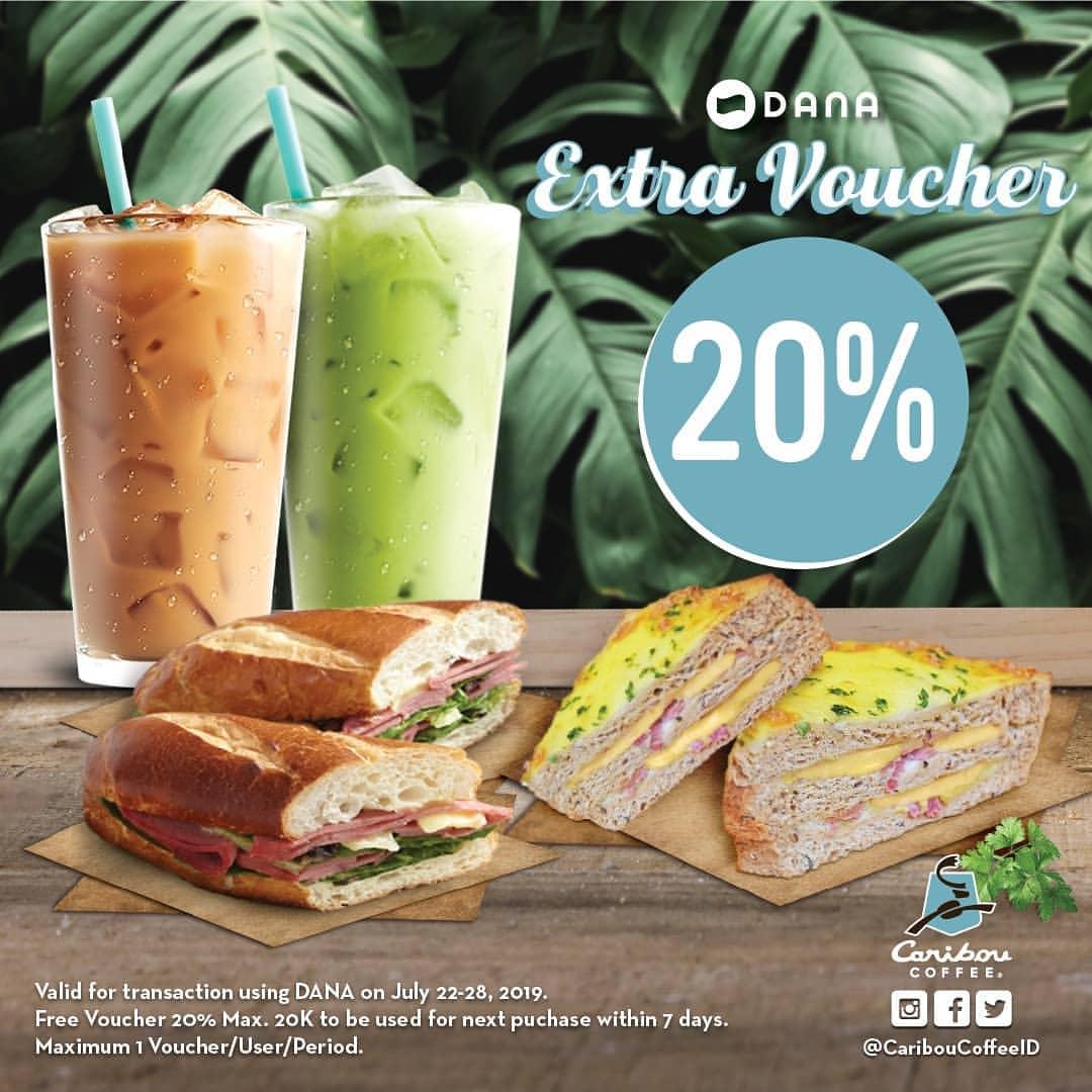 Diskon CARIBOU COFFEE Promo Ekstra Cashback 20% dengan DANA