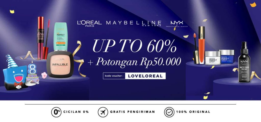 BLIBLI.COM Promo LOREAL, MAYBELLINE, NYX diskon up to 60%