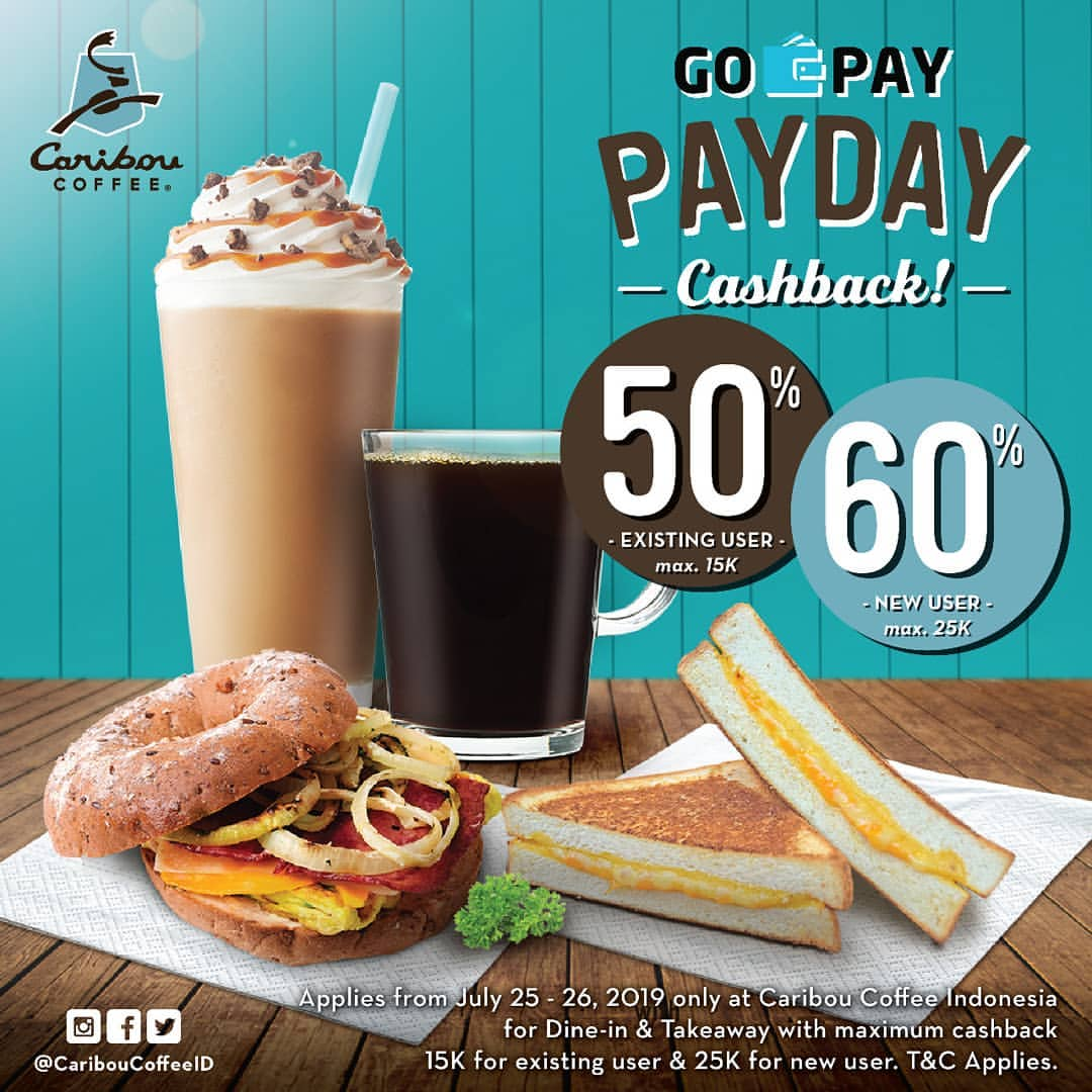 Caribou Coffee Promo GOPAY PAYDAY, Cashback up to 60%!