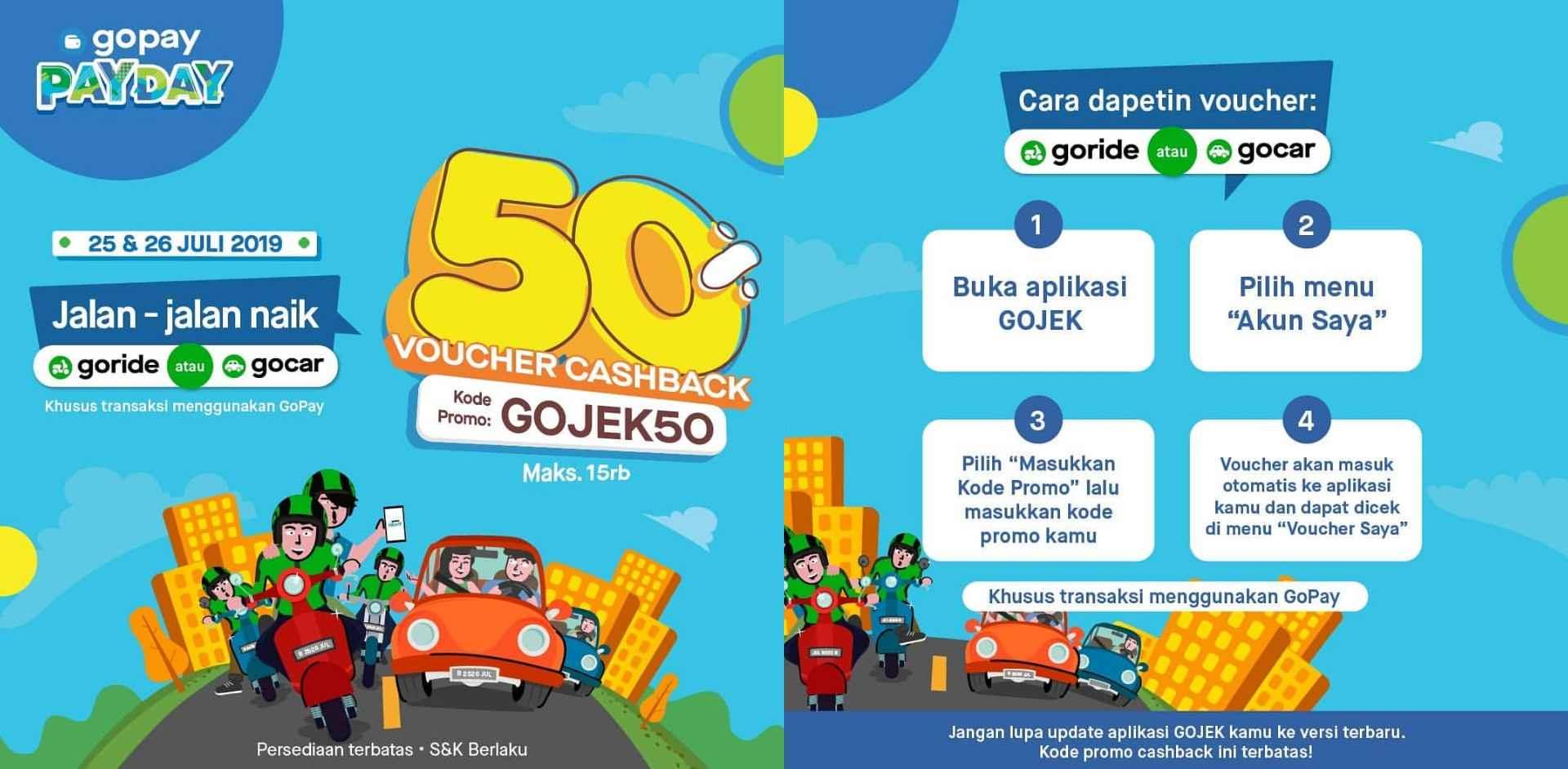 GOPAY PAYDAY, CASHBACK 50% nge GO-CAR & GO-RIDE
