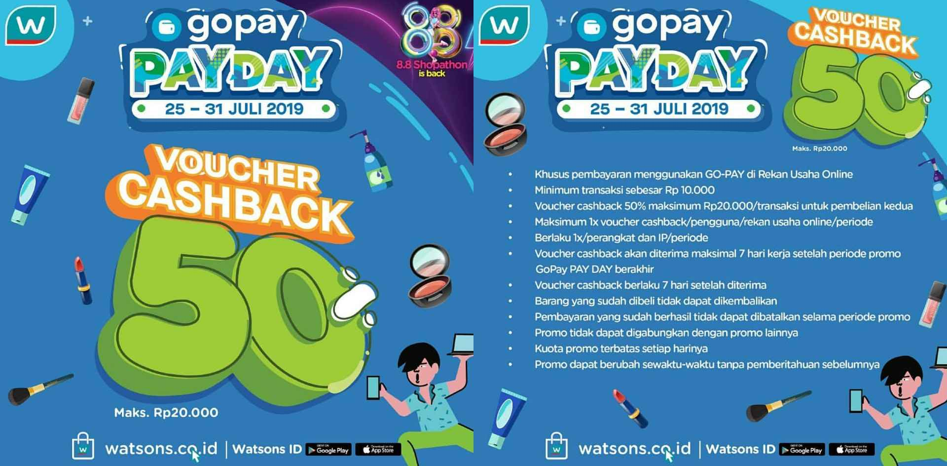Watsons Promo GOPAY PAYDAY, Cashback up to 60%!