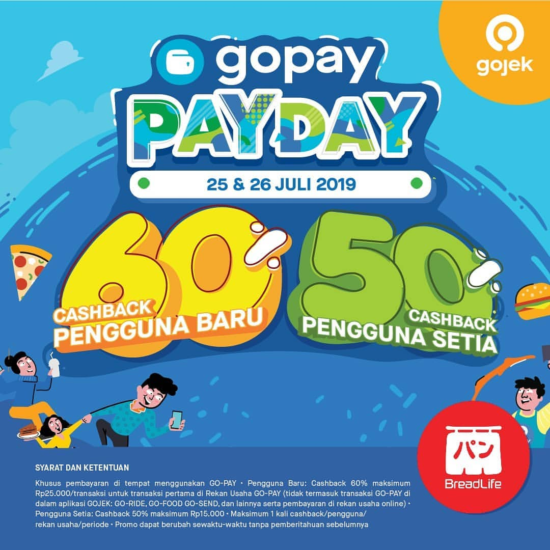 Diskon Breadlife Promo GOPAY PAYDAY, Cashback up to 60%!