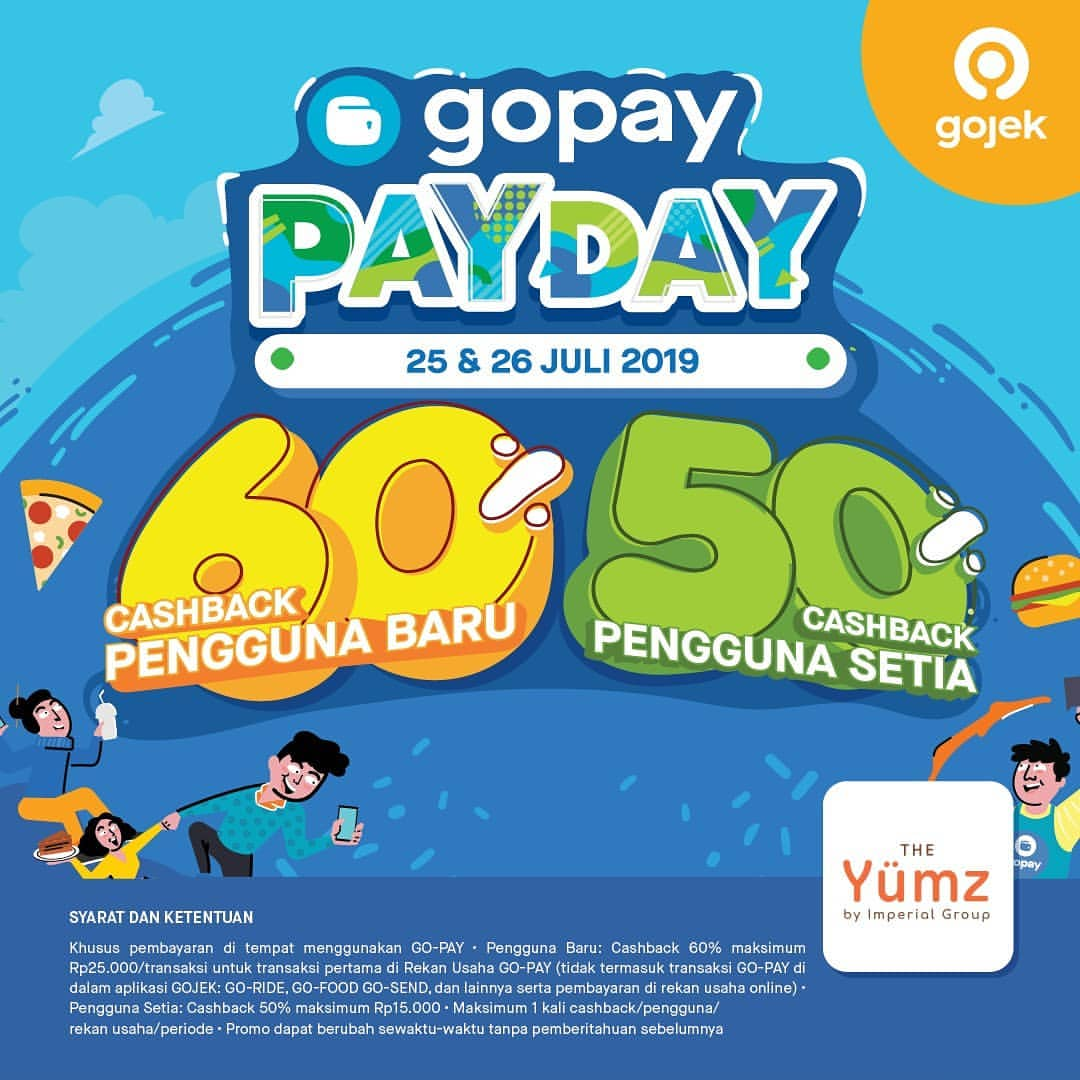 The YUMZ Promo GOPAY PAYDAY, Cashback up to 60%!