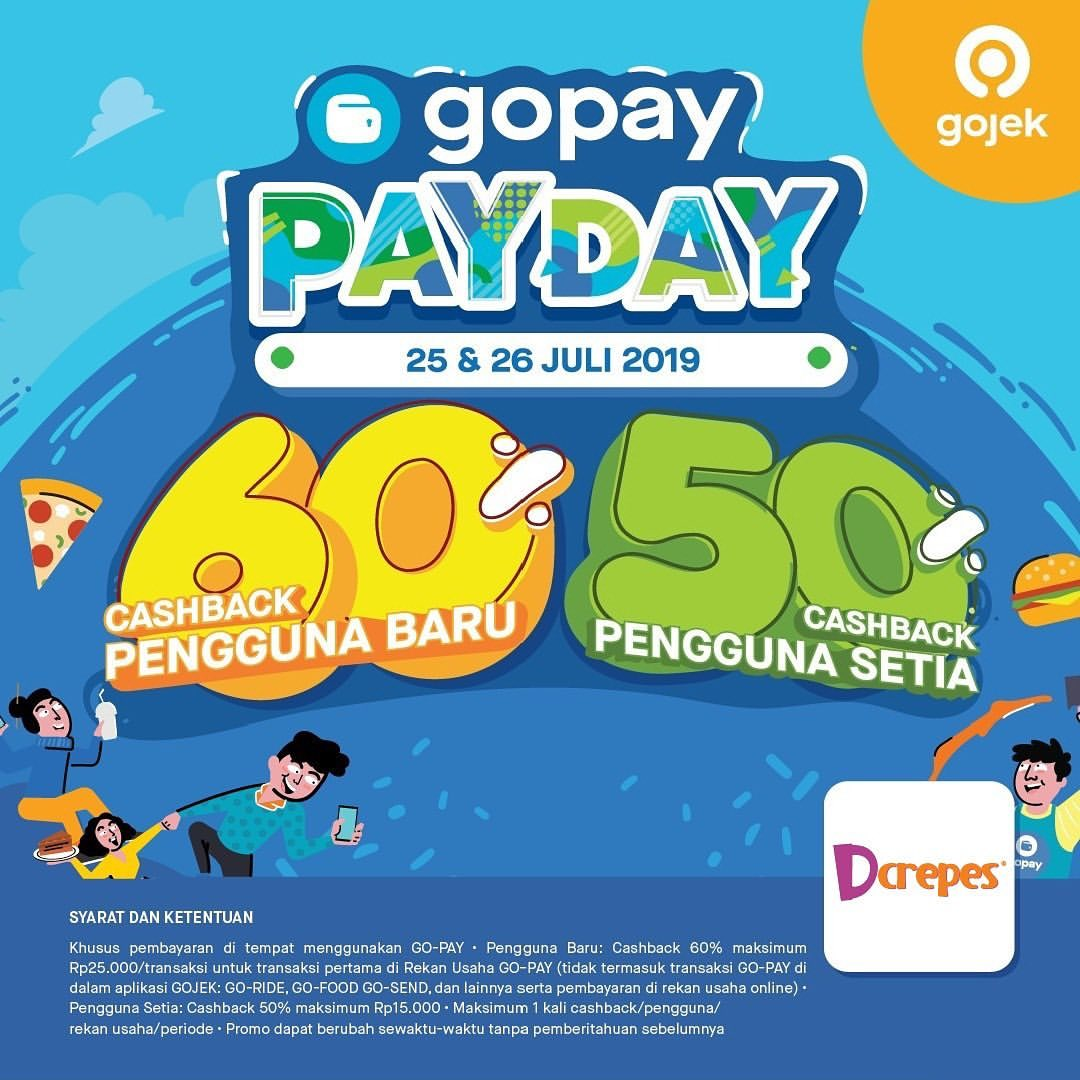 Diskon D'Crepes Promo GOPAY PAYDAY, Cashback up to 60%!