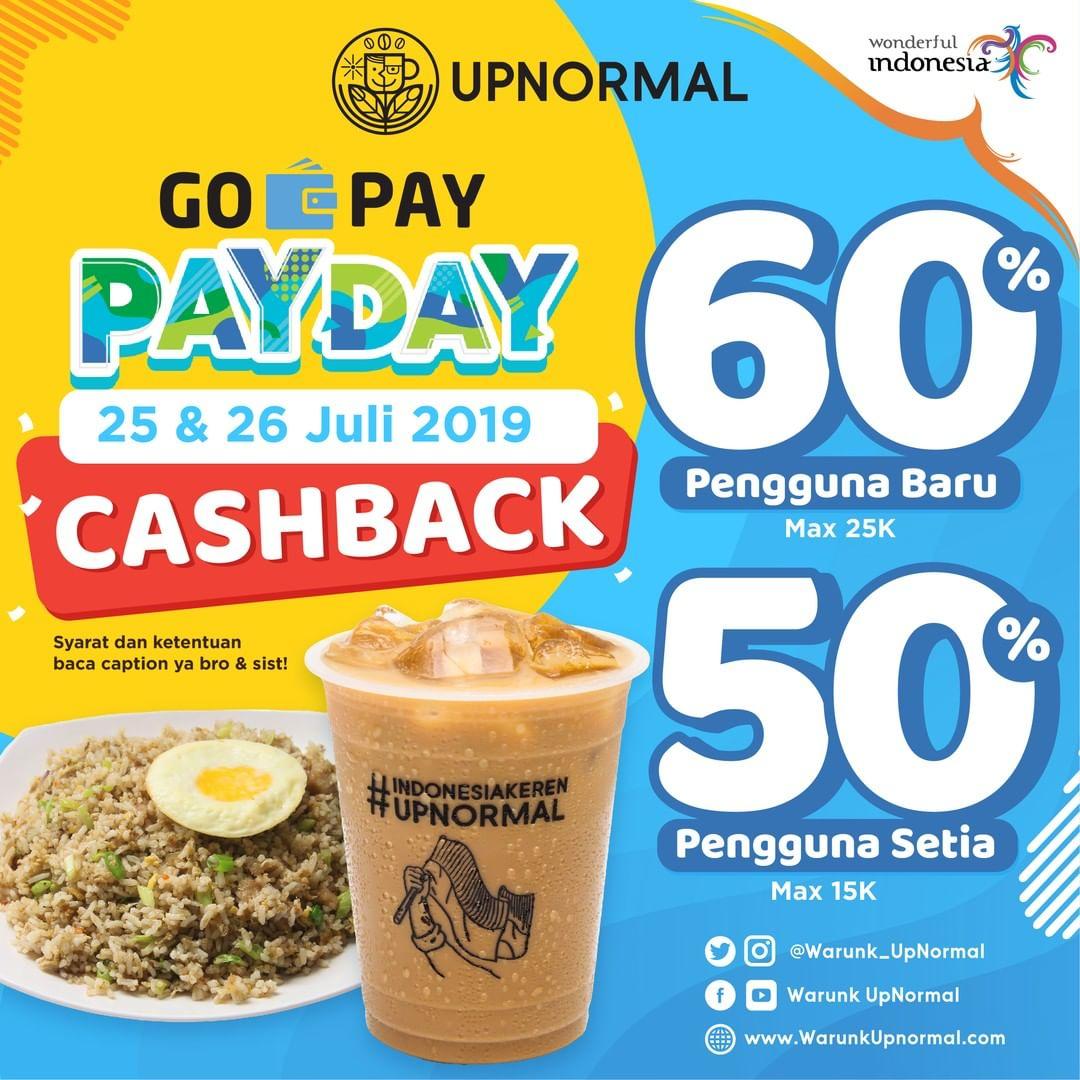 Diskon Warunk Upnormal Promo GOPAY PAYDAY, Cashback up to 60%!
