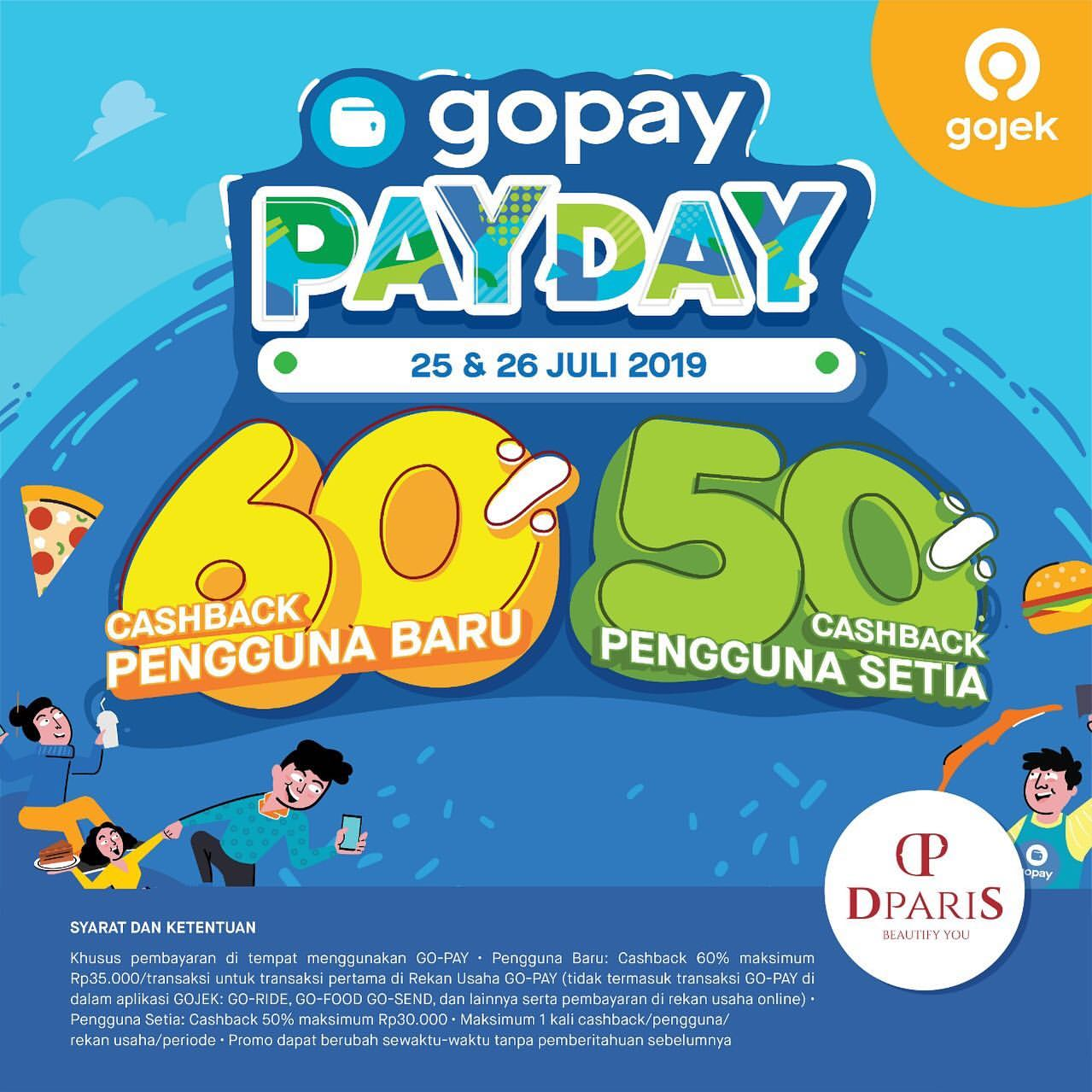 DPARIS Promo GOPAY PAYDAY, Cashback up to 60%!