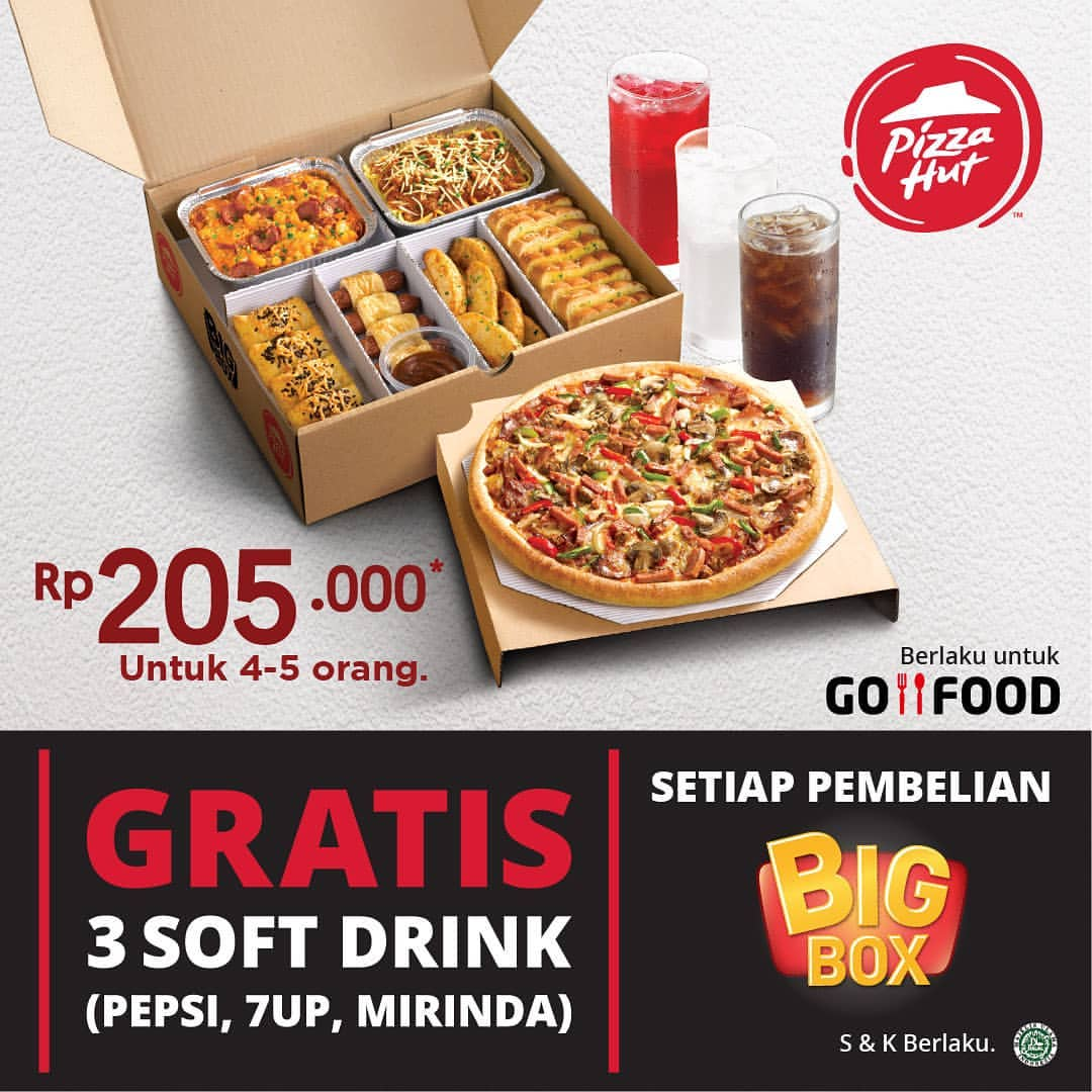 PIZZA HUT Promo BELI PAKET BIG BOX GRATIS 3 Soft Drink