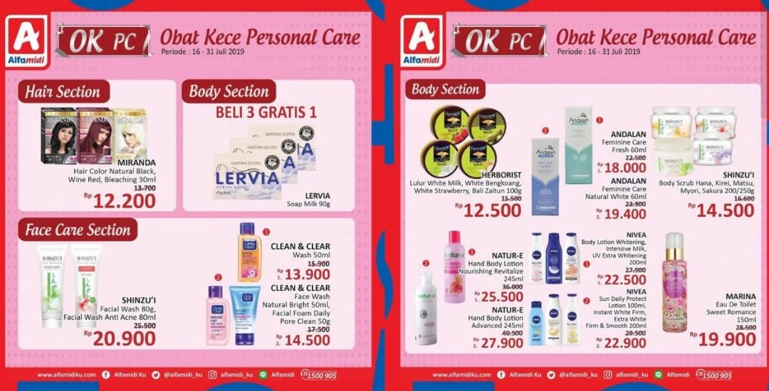 Diskon Katalog Promo Personal Care Alfamidi Periode 16-31 Juli 2019