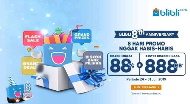 Diskon Blibli Promo 8th Anniversary, Diskon Hingga 88% + Rp.888.000
