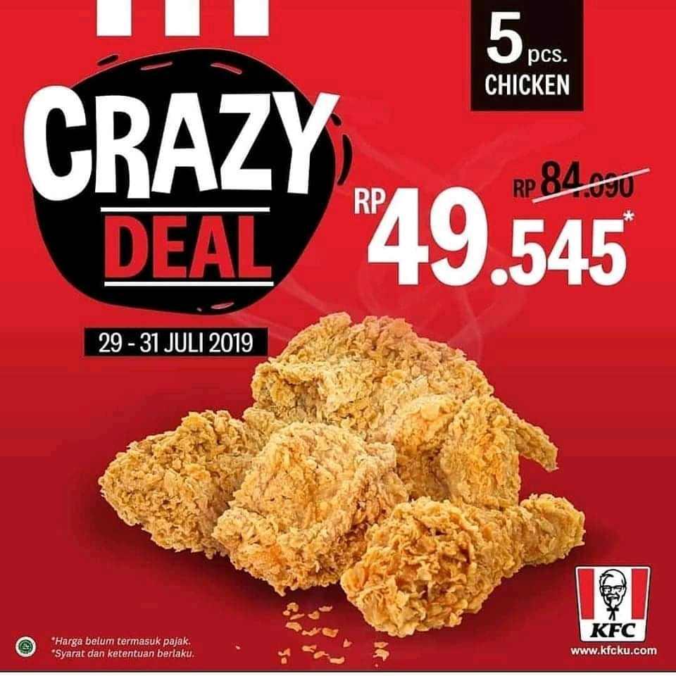 Diskon PROMO KFC CRAZY DEAL, 5 pcs Ayam Rp. 49.545
