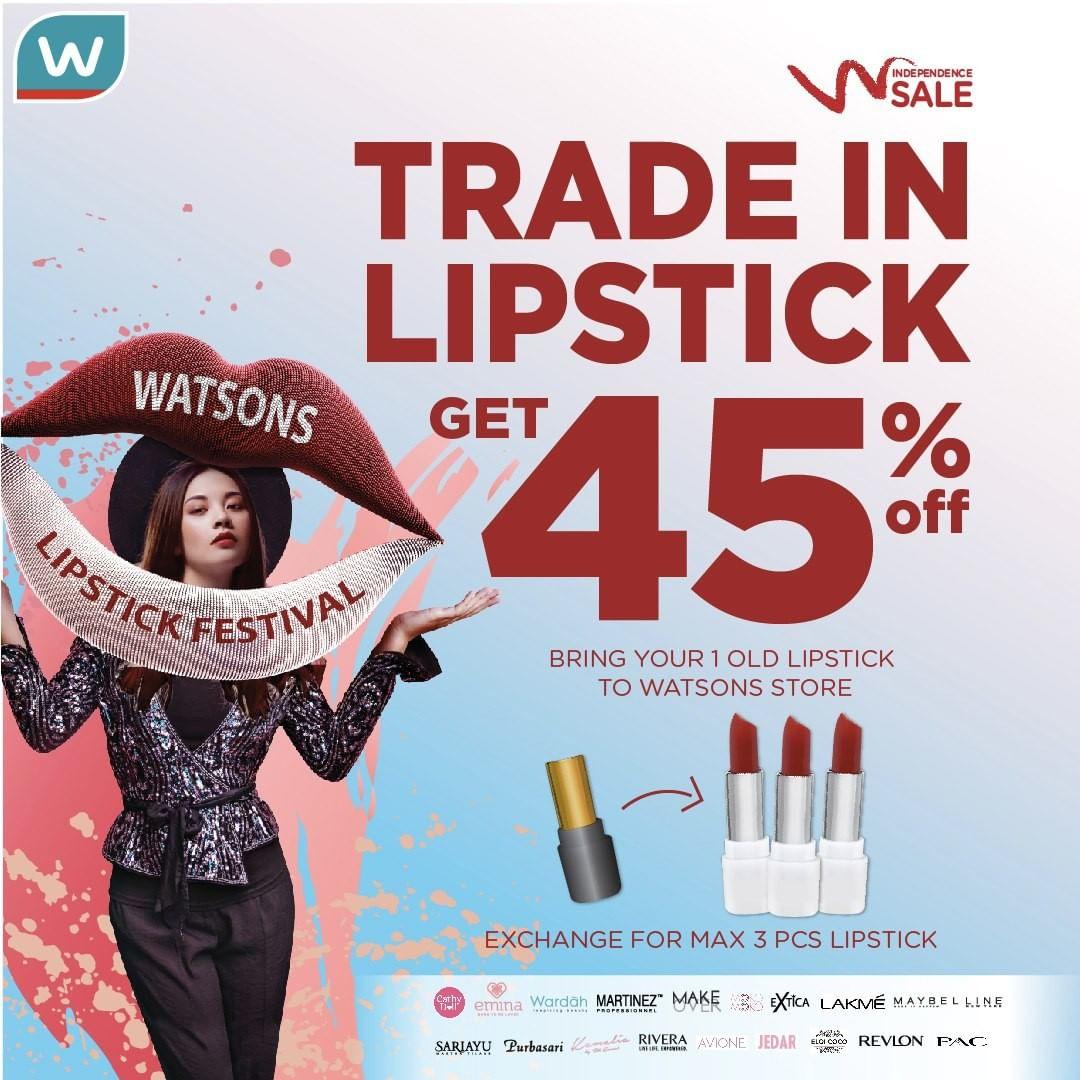 WATSONS TRADE IN LIPSTICK, Potongan 45% untuk Lipstick Baru