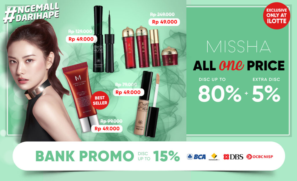 iLOTTE.COM Promo MISSHA Diskon up to 80% + Extra Disc 5%!