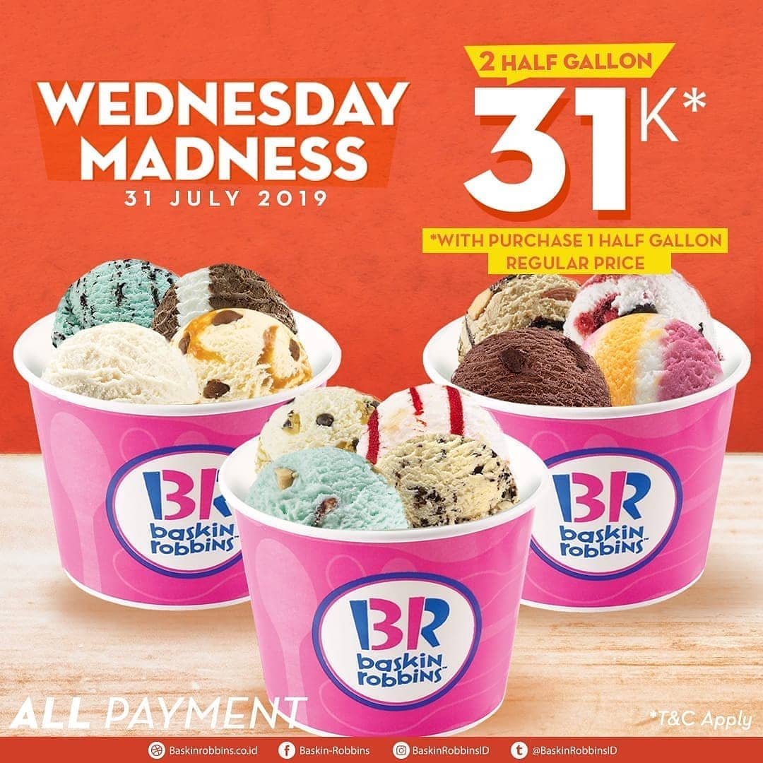 Baskin Robbins Promo 2 HALF GALLON Fresh Pack Ice Cream cuma Rp.31.000*
