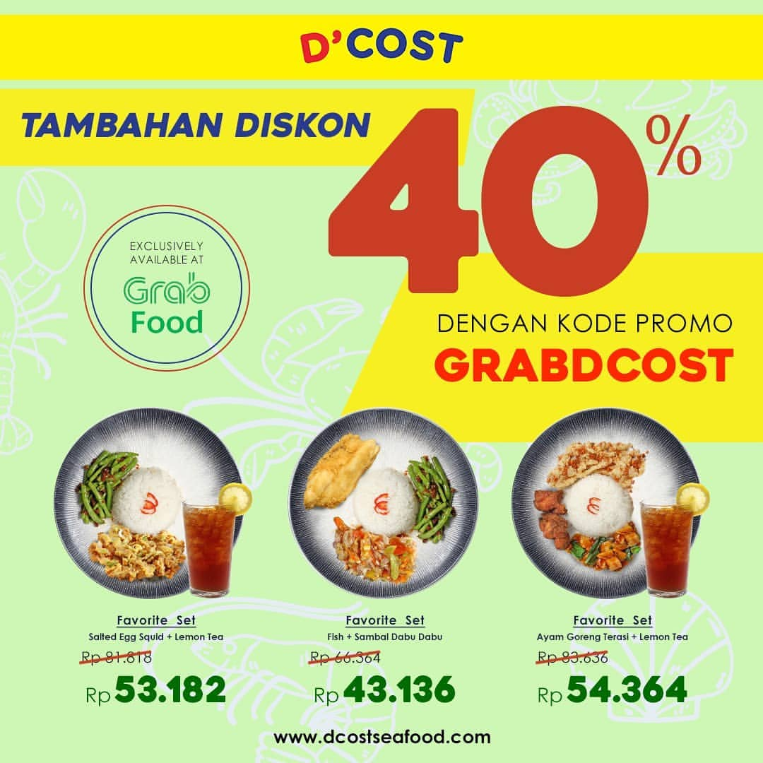 Diskon DCOST Promo HEMAT hingga 40% via Grab Food