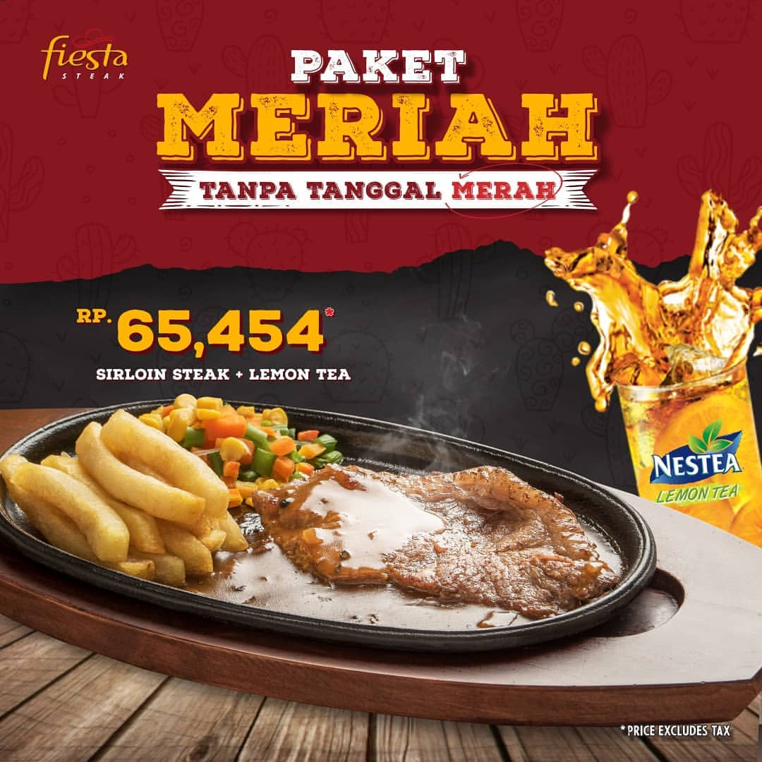 Diskon FIESTA STEAK Promo Sirloin Steak + Lemon Tea Rp.65.454*