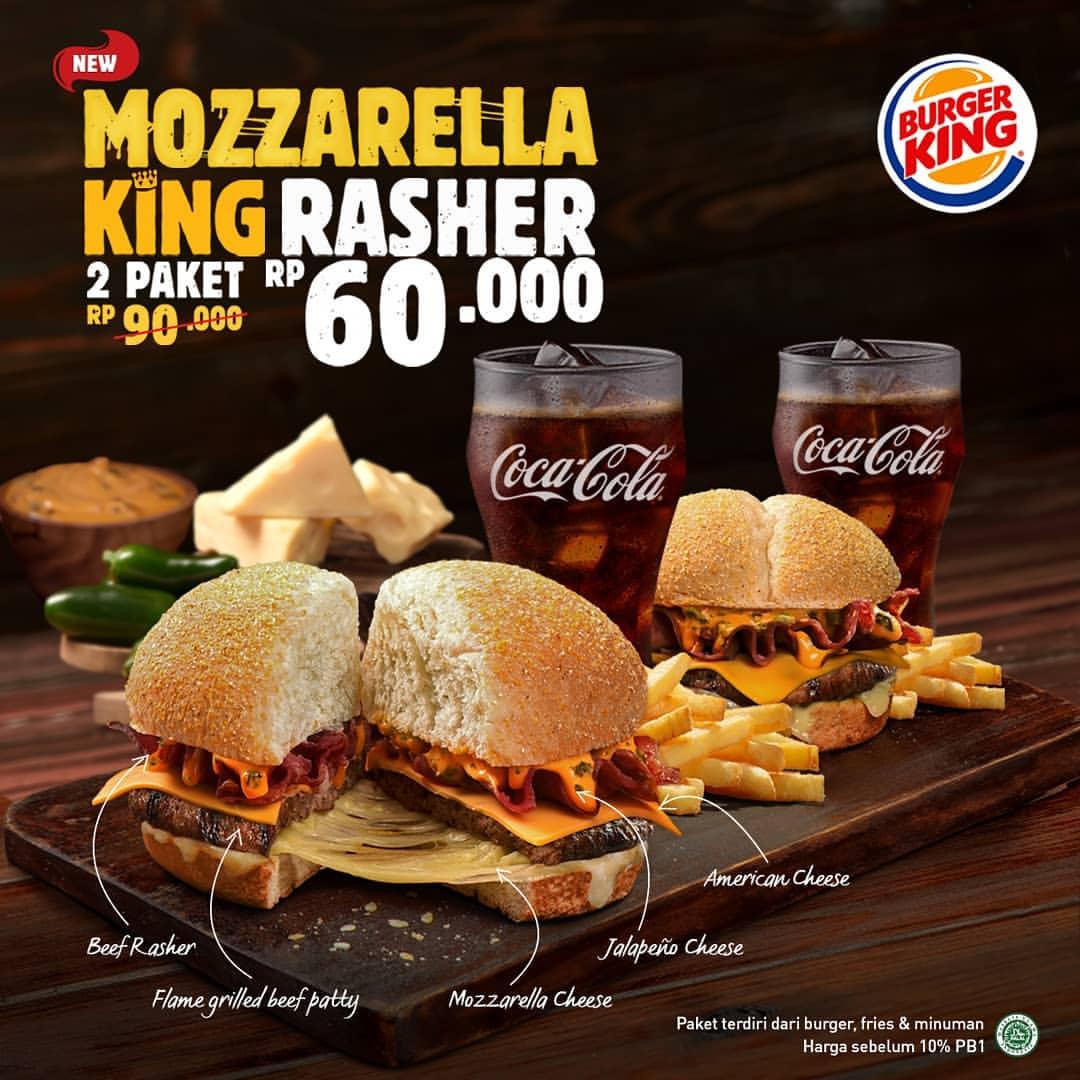 Diskon BURGER KING Promo 2 Paket Mozzarella King Rasher Hanya Rp.60.000