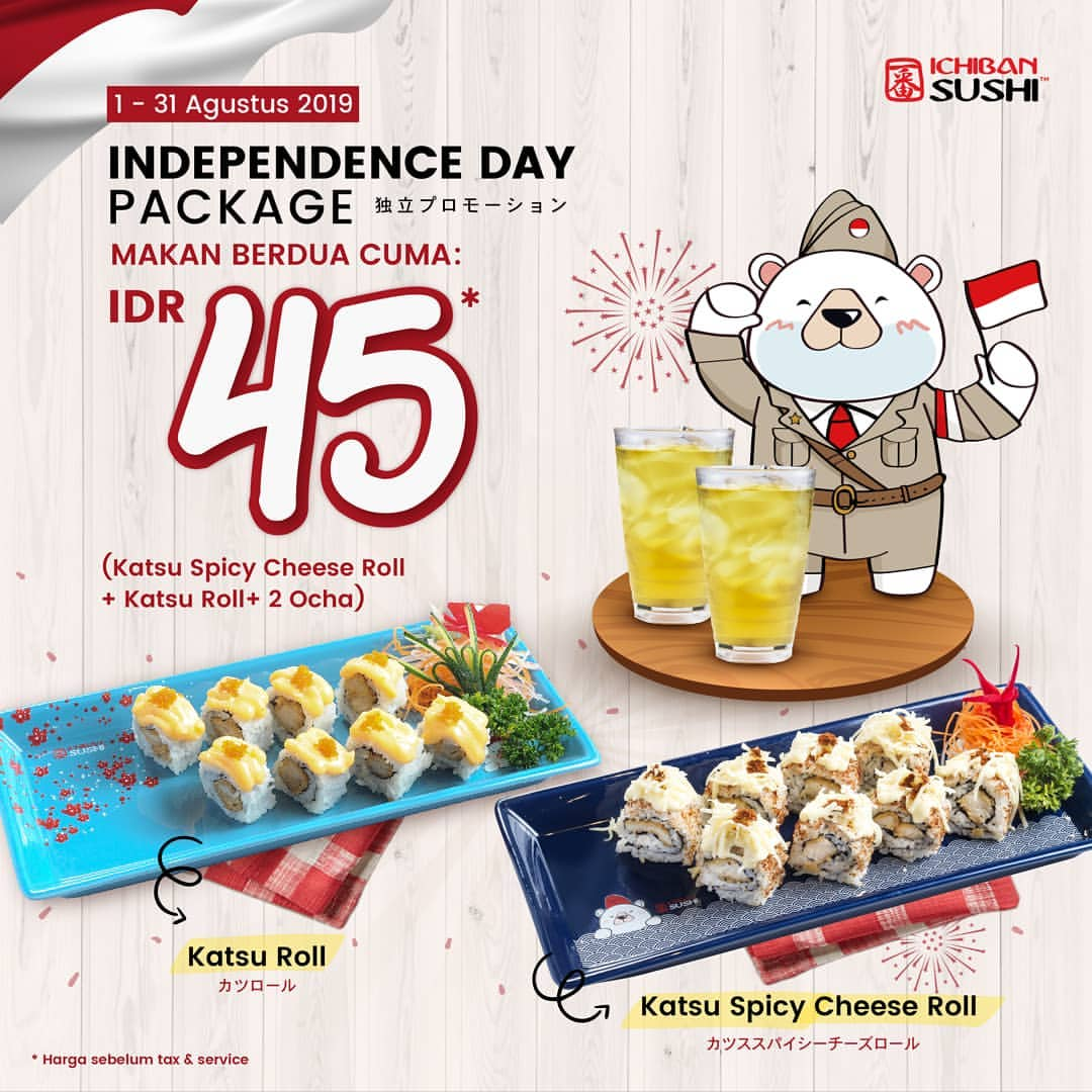 ICHIBAN SUSHI Promo Independence Day IDR 45.000*/2 person