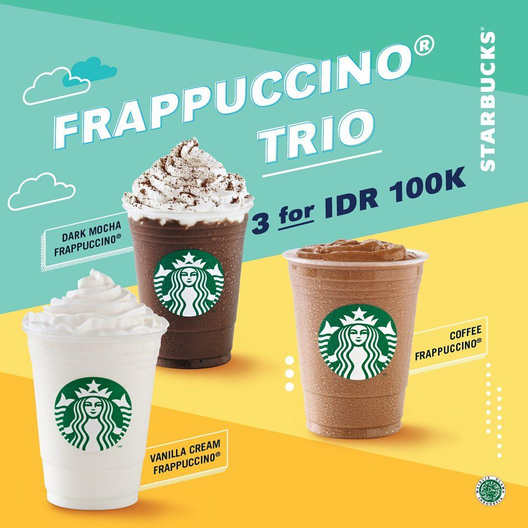Diskon STARBUCKS Promo Frappuccino Trio 3 For 100K