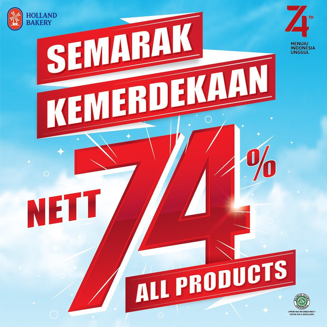 HOLLAND BAKERY Promo HUT RI Nett 74%