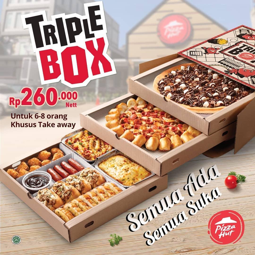 Diskon Pizza Hut Triple Box - PAKET Pizza dengan 3 Tingkat Pas Buat Rame-Rame