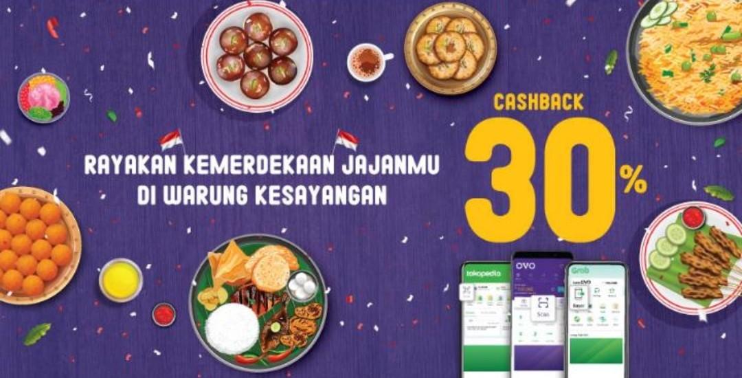 OVO Promo Merdeka Jajan, Cashback 30%!