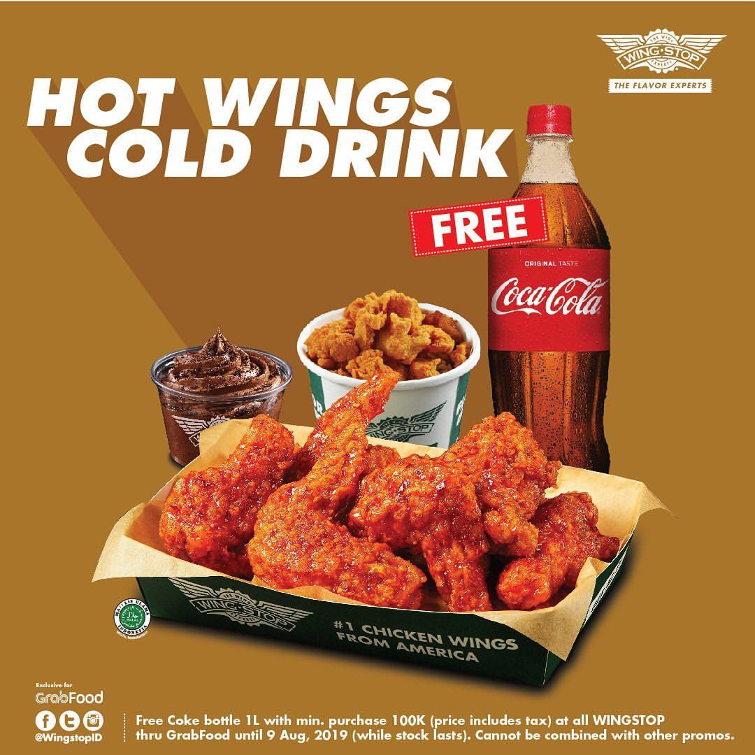 Wingstop Promo Grabfood, Gratis 1 Liter Coca Cola