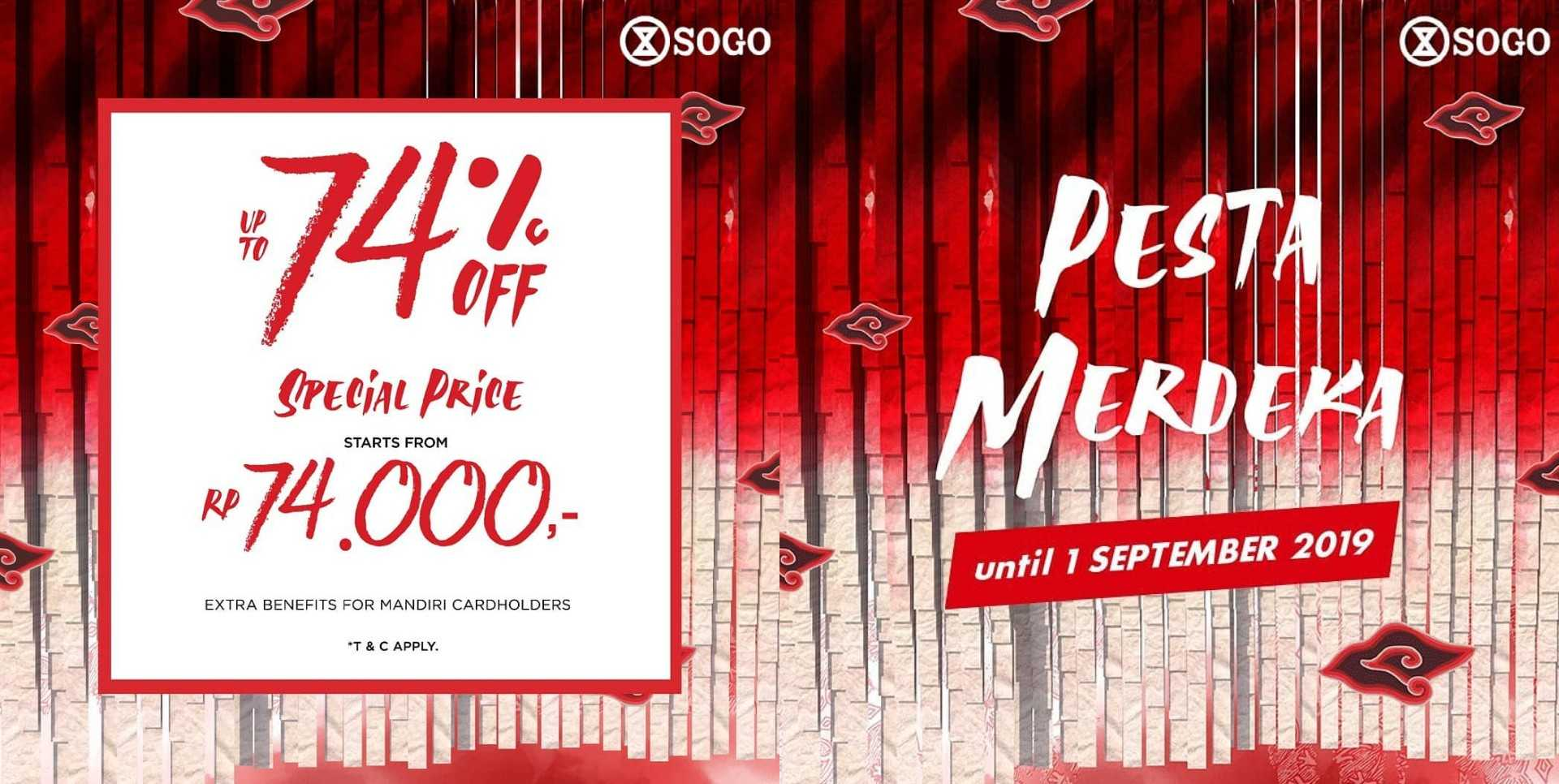 Diskon SOGO Promo PESTA MERDEKA, Discount Up to 70%