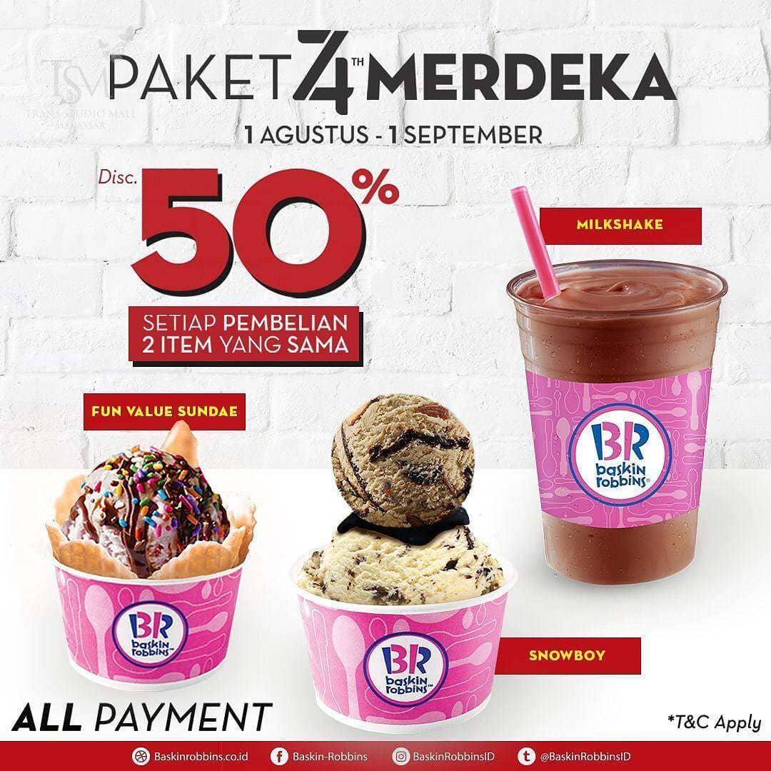 Diskon BASKIN ROBBINS Promo Paket 74th Merdeka, Diskon 50%