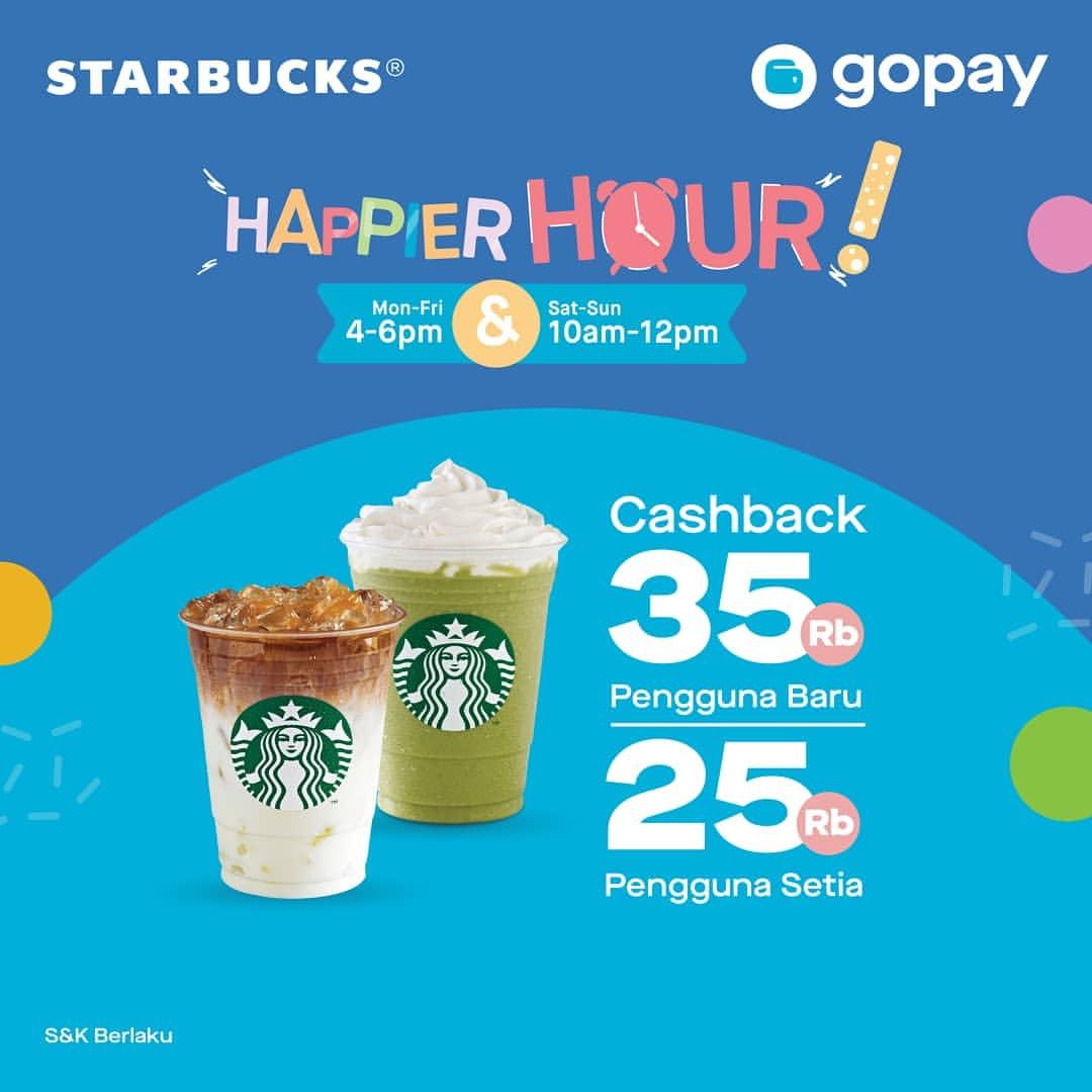 STARBUCKS HAPPIER HOUR! CASHBACK hingga Rp. 35ribu dengan GOPAY