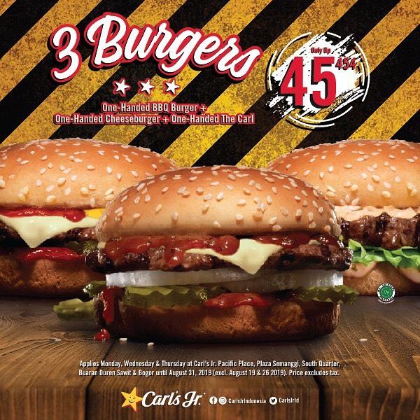 Diskon  Carls Jr Promo Paket 3 Burger Hanya Rp.45.454*