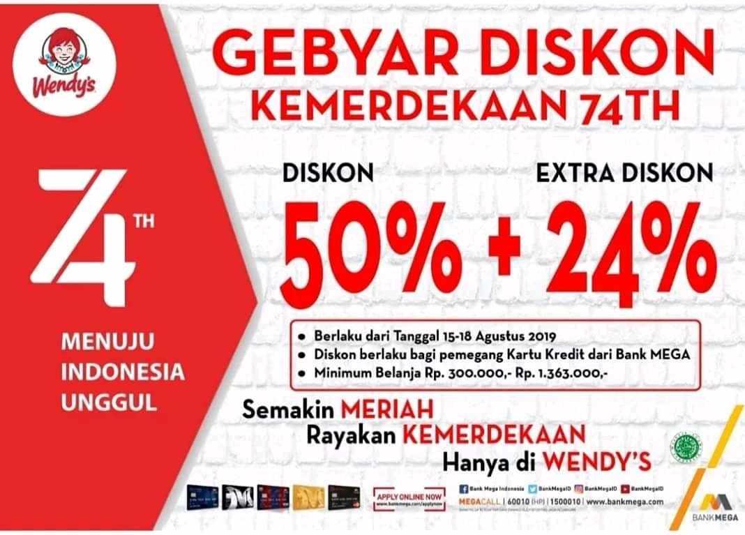 Wendys Promo Gebyar Diskon Kemerdekaan, Diskon 50% + 24%