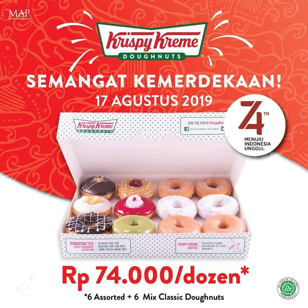 KRISPY KREME Promo Spesial 1 Dozen Krispy Kreme Doughnut only Rp.74.000*