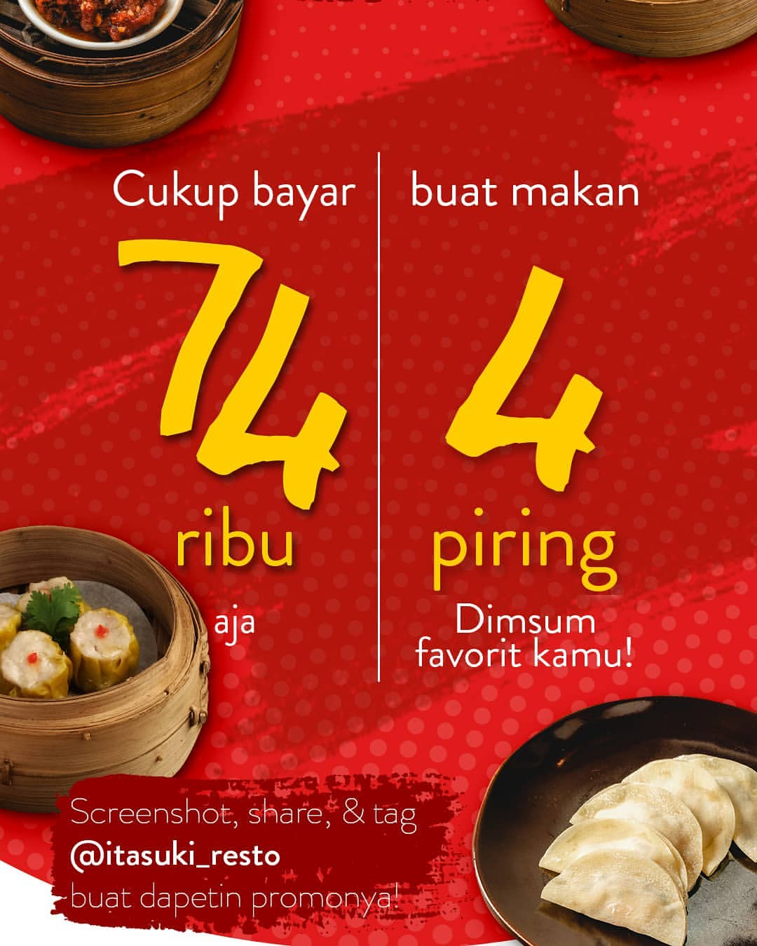 I-tasuki Restaurant Promo 4 Piring Dimsum hanya Rp.74.000