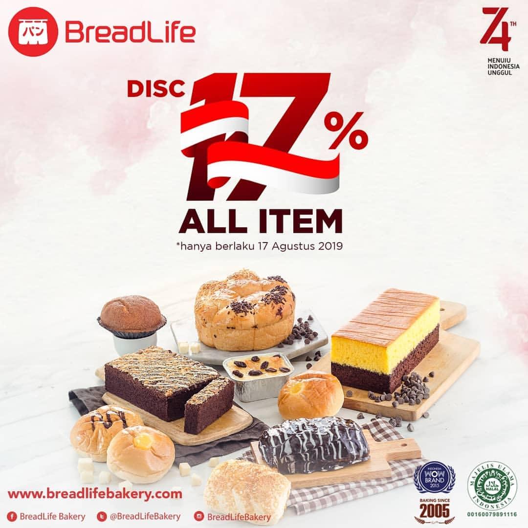 BREADLIFE Promo HUT RI ke 74, Dapatkan Diskon 17% *